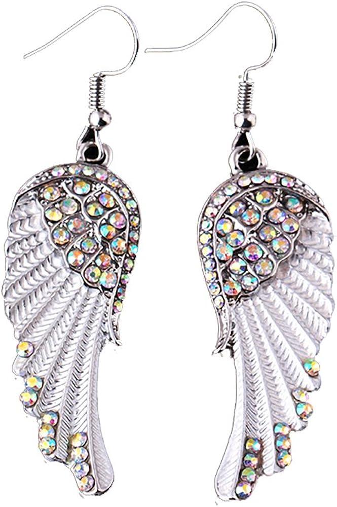 IDB Dangling Rhinestone Angel Wing Hook Earrings - 0.59