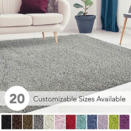 iCustomRug Cozy and Soft Solid Shag Rug 9X12 Grey Ideal to Enhance Your Living Room and Bedroom Decor
