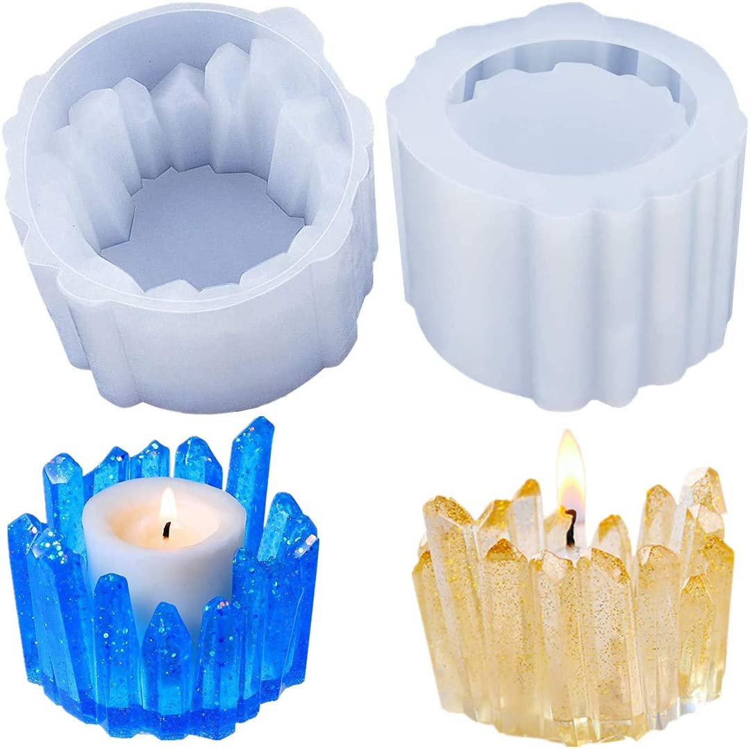 2 Pieces Candle Holder free shipping Resin Free Shipping Cheap Bargain Gift Crystal Candlestick Silicone Molds