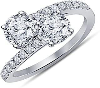 Forever Us Two Stone Round CZ Diamond Solitaire Wedding Engagement Ring-14K White Gold Plated Bypass Love Promise Ring for Women