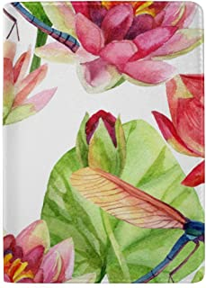 Beautiful Flowers and Dragonflies Blocking Print Passport Holder Cover Case Travel Luggage Passport Wallet Card Holder Made with Leather for Men Women Kids Family