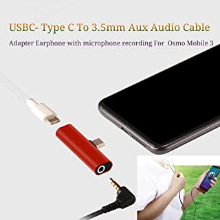 USBC - Type C Adapter 2 in 1 to 3.5mm Jack Headphones Aux Audio Cable Adapter Earphone with Microphone Recording | USB C Charger Adapter Supports Osmo Mobile 3 for Mobile Phone (red)