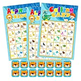 Hohomark Alphabet Bingo Game 26 Players Animal Letter Learning Game for Kids ABC Letter Recognition Bingo Cards for Family Kindergarten Preschool Classroom Birthday Party Group Games Supplies