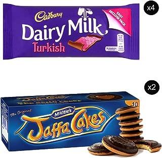 McVities Jaffa Cakes Two Boxes + Cadbury Dairy Milk Turkish | Total 4 bars of British Chocolate Candy - Cadbury Dairy Milk Turkish 47g each