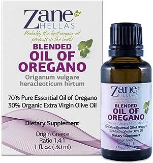 Zane Hellas 70% Oregano Oil. Pure Greek Essential Oil of Oregano .86% Min Carvacrol. 90mg Carvacrol Per Serving. Probably The Best Oregano Oil in The World. 1 fl. oz.- 30ml