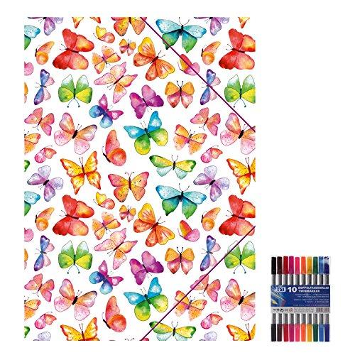Kunststoffmappe mit Gummizugverschluss Schmetterlinge für DIN A4, Zeichenmappe inkl. 10er Pack Doppelfasermaler, Sammelmappe, Mappe, Ordnungsmappe