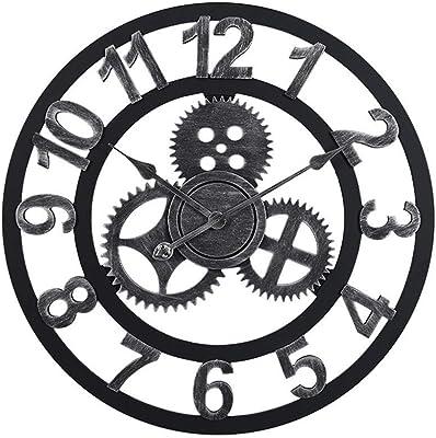 H-ClocksReloj de Pared con Engranajes en 3D, Estilo Industrial Retro Europeo Reloj de Colgar en Silencio Moderno Creativo Sala de Estar casera Bar Cafe Decoración Relojes Múltiples tamaños,A,50CM: Amazon.es: Hogar