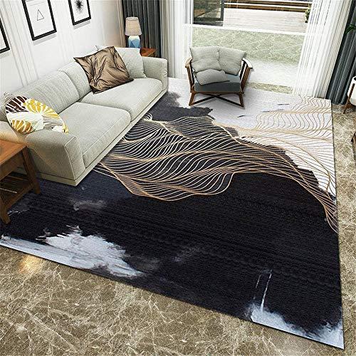 Kinderteppich Klein Schwarz Wohnzimmer Teppich schwarz abstrakt Mesh Muster weichen Teppich Multi-Size Auslegware Teppichboden 160 x 230 cm Weicher Teppich 5ft 3''X7ft 6.6''