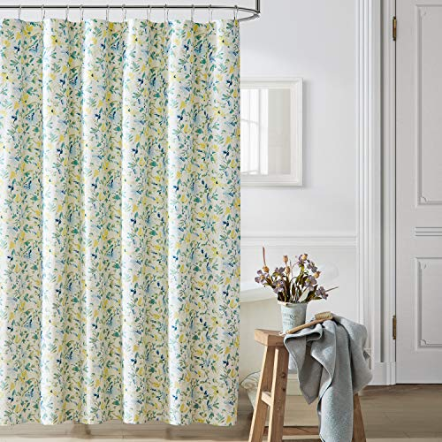 Laura Ashley Home   Nora Collection   Shower Curtain-100% Cotton & Lightweight, Stylish Floral Design, Machine Washable for Easy Care, 72 x 72, Bright Blue