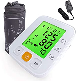 SCIAN Digital Blood Pressure Monitor Upper Arm - Adapter, 3 Colors LED, 5 Voices, 2x90 Memory Blood Pressure Machine & Cuff | Accurate Automatic Measure BP Monitor Device for Home & Clinical Use