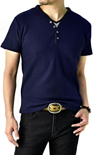 (フラグオンクルー) FLAG ON CREW ゆうパケット発送 キーネック Yヘンリー カットソー メンズ 半袖 畦ワッフル 2フェイク Tシャツ / B4B