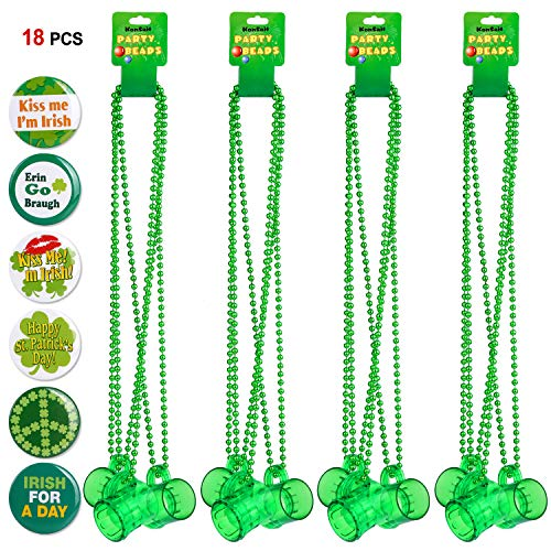 St.patricks Necklaces with Shot Glass(12pcs)& St.patrick Pins(6pcs),Konsait Green St Patrick's Day Beads St.patrick Button for Kids Women Man for St.patricks Day Costumes Party Games Favor Supplies