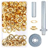 Grommet Kit <span class='highlight'><span class='highlight'>Pulluo</span></span> 100 Sets 1/2 Inch Grommet Tool Kit Grommets Eyelets with 3pcs Install Tool Kit and Storage Box for Tarpaulin Fabric Craft Making, Gold