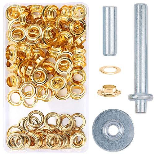 Ojetes Metalicos Pulluo 100 sets 12mm Ojales Metalicos Kit de Herramienta de Ojetes para Toldos Lona Ropa Cortinas Manualidades Bricolaje