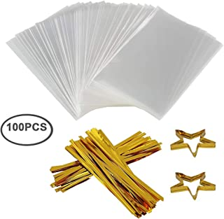 Clear Treat Bags 100 PCS Cellophane Bags Party Favor Bags with 100 PCS Metallic Twist Ties for Kids Birthday Candy Popcorn Gift Cookie Small (4''by 6'')
