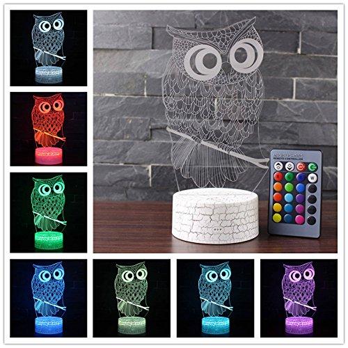 etbotu Cute dibujos animados 3d búho, LED Touch interruptor de lámpara cama Luz Home Office decoración Berühren + Fernbedienung