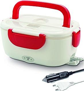 Self Ideas - Tartera eléctrica para hogar y coche. Fiambrera eléctrica con dos compartimientos, capacidad de 1.5L y 40W de potencia. Túper eléctrico portátil calienta tu comida en minutos. (Rojo)