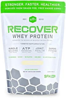 Recover Whey Protein Powder (Vanilla) by SFH | Great Tasting 100% Grass Fed Whey for Post Workout | All Natural | No Soy, No Gluten, No RBST, No Artificial Flavors (Bag)