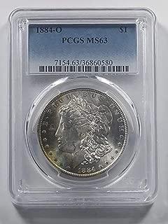 1884 O Morgan Silver Dollar Crescent Rainbow $1 MS-63 PCGS