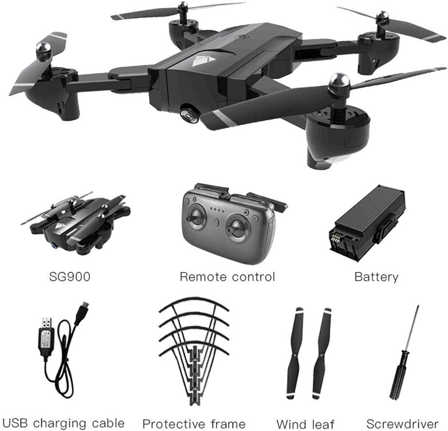 Generic SG900 Foldable Quadcopter 720P Drone Quadcopter WiFi FPV Drones GPS Optical Flow Positioning RC Drone Helicopter with Camera hi 3.7V 1100mAh