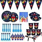 CYSJ 94 PCS Accesorios de Decoración para Fiesta,Juego de vajilla para fiestas,decoración de cumpleaños para niños,Among us fiestas de cumpleaños infantiles, platos,tazas,servilletas,manteles