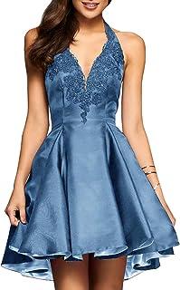 Halter Short Satin Homecoming Dress A-line Lace Applique...