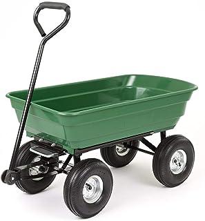 JCX Carro de Descarga portátil Carretilla de jardín 200 Kg con Marco de Acero Resistente Neumáticos neumáticos para Tractores de césped Cortacésped Barrow Carrrow Wagon Carrier (Verde)