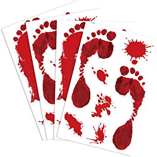 KUUQA 4 Pcs Bloody Footprint Clings Horror PVC Stickers Halloween Decorations