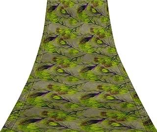 Svasti Peacock Feather VintageSari Refurbished Light Green 100% Pure Silk Printed Craft Fabric 5 Yard