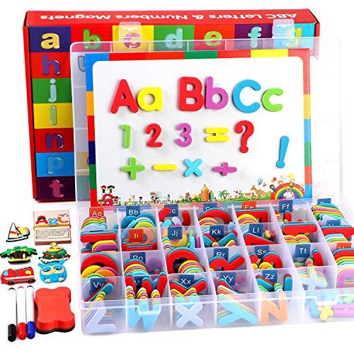 Lewo  253  PCS Rompecabezas de Letras Magnéticas con Tablero Magnético y Caja de Almacenamiento Alfabeto de Espuma ABC Imanes de Nevera Juguetes Educativos para Niños Pequeños