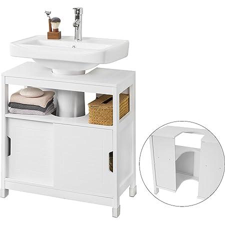 SoBuy FRG128-II-W Meuble sous lavabo Meuble sous évier Meuble de Salle de Bain sous lavabo Housse Colonne lavabo Anti-humidité Blanc L60 x P30 x H61cm