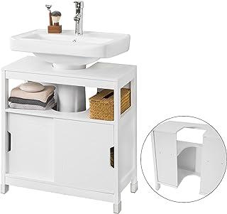 SoBuy FRG128-II-W Meuble sous lavabo Meuble sous évier Meuble de Salle de Bain sous lavabo Housse Colonne lavabo Anti-humi...