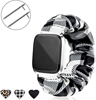 THOVSMOON Cute Scrunchie Elastic Band for Fitbit Versa,Comfortable and Lightweight Sport Watch Strap Replacement with Fitbit Versa/Versa 2/Versa Lite for Girls (White Plaid)