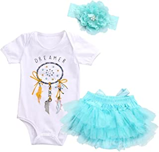 3pcs Set Newborn Baby Girl Dreamcatcher Romper+Tutu Skirt Tulle Outfits Clothes (3M, White)