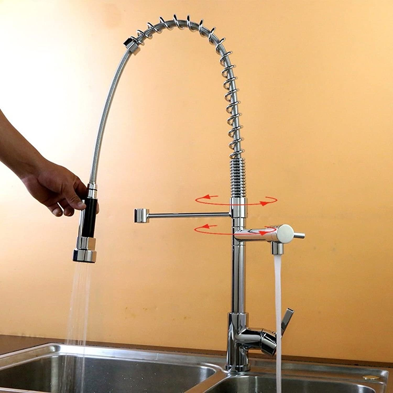 Lpophy Bathroom Sink Mixer Taps Faucet Bath Waterfall Cold and Hot Water Tap for Washroom Bathroom and Kitchen Copper Hot and Cold redating Tension Spring