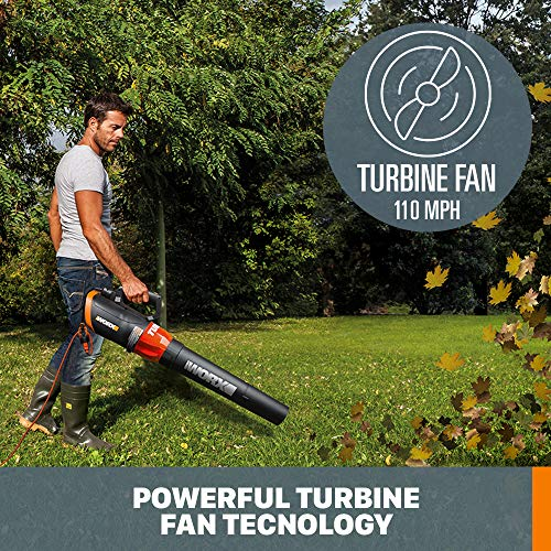 WORX WG520 Turbine 600 Corded Electric Leaf Blower, Black