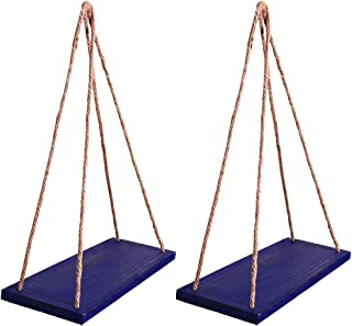 """Y&ME Wood Hanging Floating Shelves with Rope,Farmhouse Rope Hanging Shelves Set of 2 with 4 Hooks for Home Wall Decor, 17""""x 6""""x 0.7"""",Rustic Blue Hanging Shelf"""