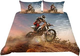 PICTURESQUE Bed Sets for Boys Dirt Bike Motocross Bedding Duvet Cover Quilt Cover(Queen)