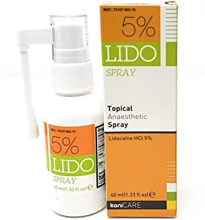 Lido 5% Lidocaine Spray Max Strength Pain Relief. Topical Numbing Anesthetic 40ml (1.33 Fl Oz), 1.33 Fl Oz, Clear