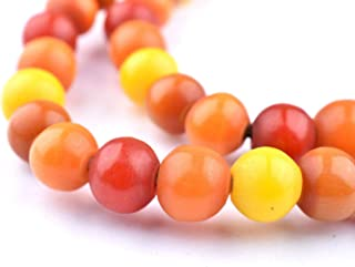 TheBeadChest Mixed Kenya Amber Resin Beads 12mm African Multicolor Round Large Hole 29 Inch Strand Handmade