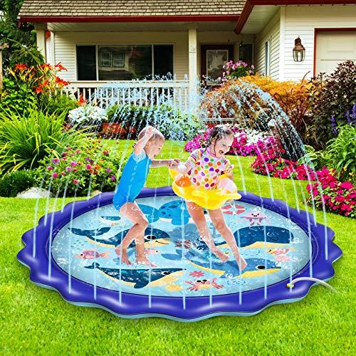 BASEIN Splash Pad, 170cm Splash Play Matte Sprinkler Wasser-Spielmatte Anti-Rutsch Spielzeug Sprinkler Play Matte Sommer Outdoor Spielzeug, Sommer Garten Wasserspielzeug für Kinder