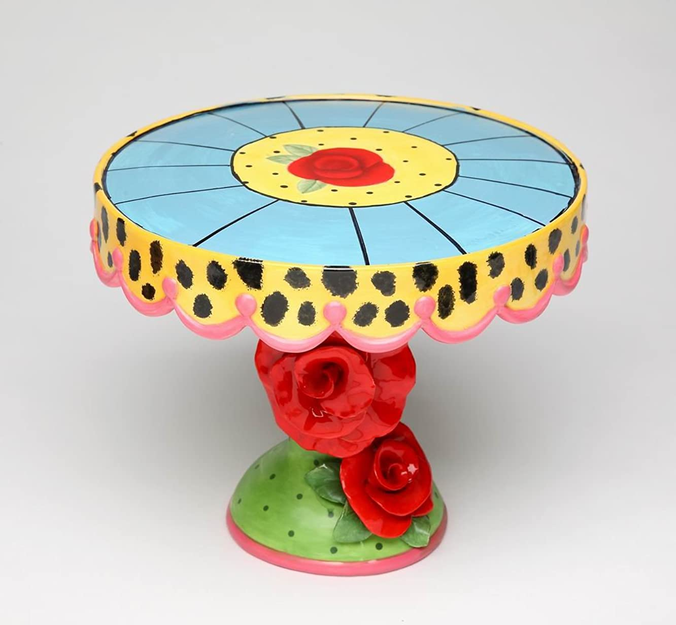 Fine Ceramic Red Roses with Leopard Prints Design Cake Stand, 9