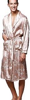 DSJJ Men's Dressing Gown Bathrobe Satin Kimono Dressing Gown Men Nightwear Housecoat Pyjamas