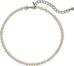 White Freshwater Pearl Choker with Rhodium Clasp Necklace