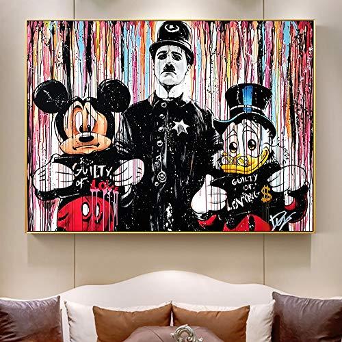 Leinwanddrucke Ente und Maus Wand Wohnkultur Wohnzimmer Kunst Poster Bilder40x50cmRahmenlose Malerei