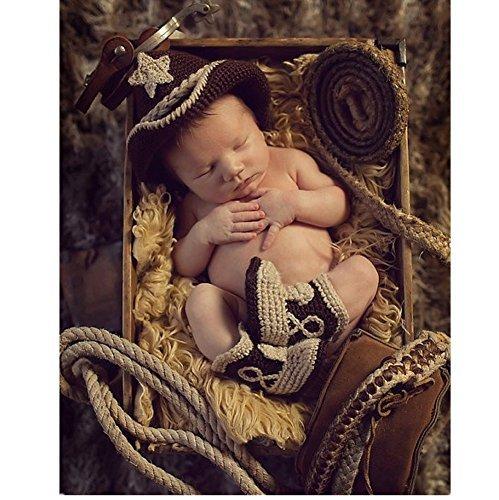 Moda neonato unisex maschio e femmina, costume a maglia, cappello e scarpe da cowboy