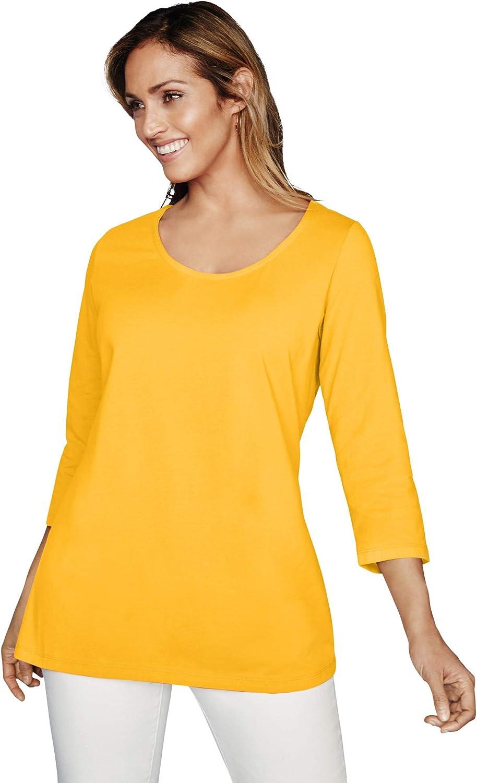 Jessica London Women's Plus Size Scoop-Neck Tee 3/4 Sleeve Shirt