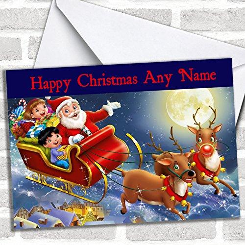 Kerstman in zijn slee kerstkaart met envelop, kan volledig worden gepersonaliseerd, snel en gratis verzonden