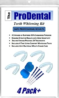 ProDental Professional Teeth Whitening Kit - Made in USA - Faster Results Than Tooth Whitening Strips, Pen, Powders and Toothpaste   Safe for Sensitive Teeth   Includes Gel and Trays for 24 Treatments