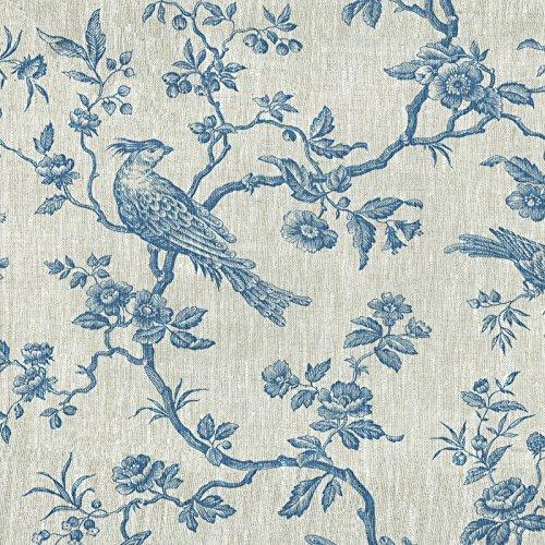 Tela de Lino Estampada - Las Aves imponentes - Tela Aves - Azul Denim sobre un Fondo de Lino Natural - 100% Lino Suave | Ancho: 150 cm (por Metro Lineal)*
